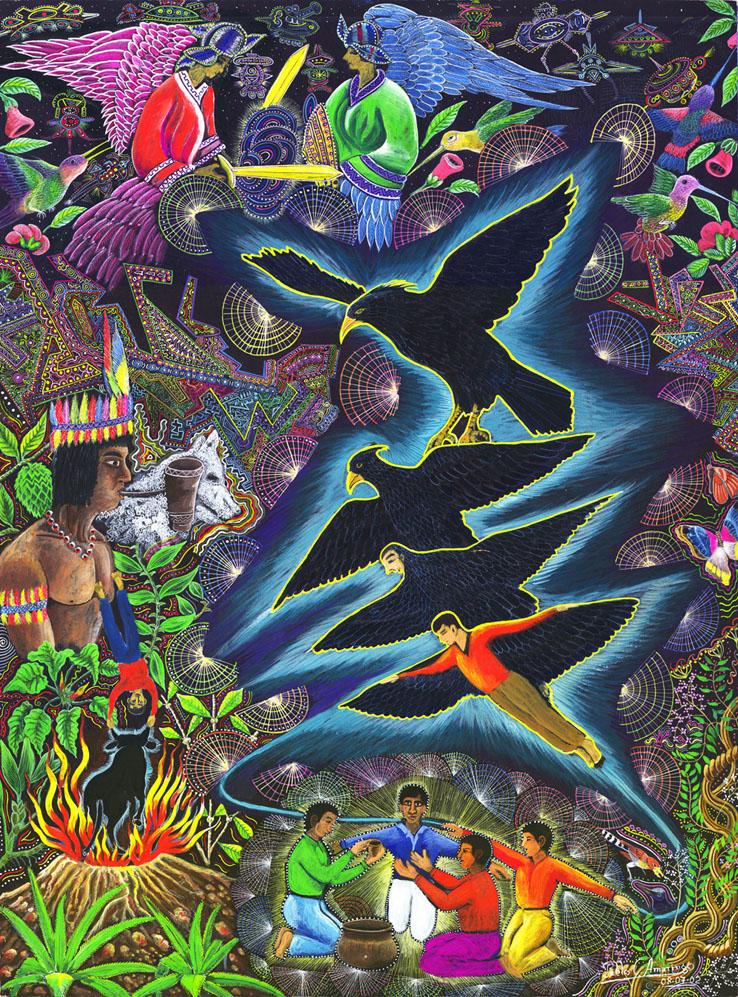 Transformacion del chaman en aguila by Pablo Amaringo